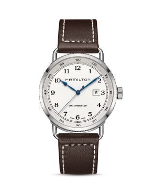 HAMILTON Khaki Automatic Leather Strap Watch, 43Mm in Brown/ Silver
