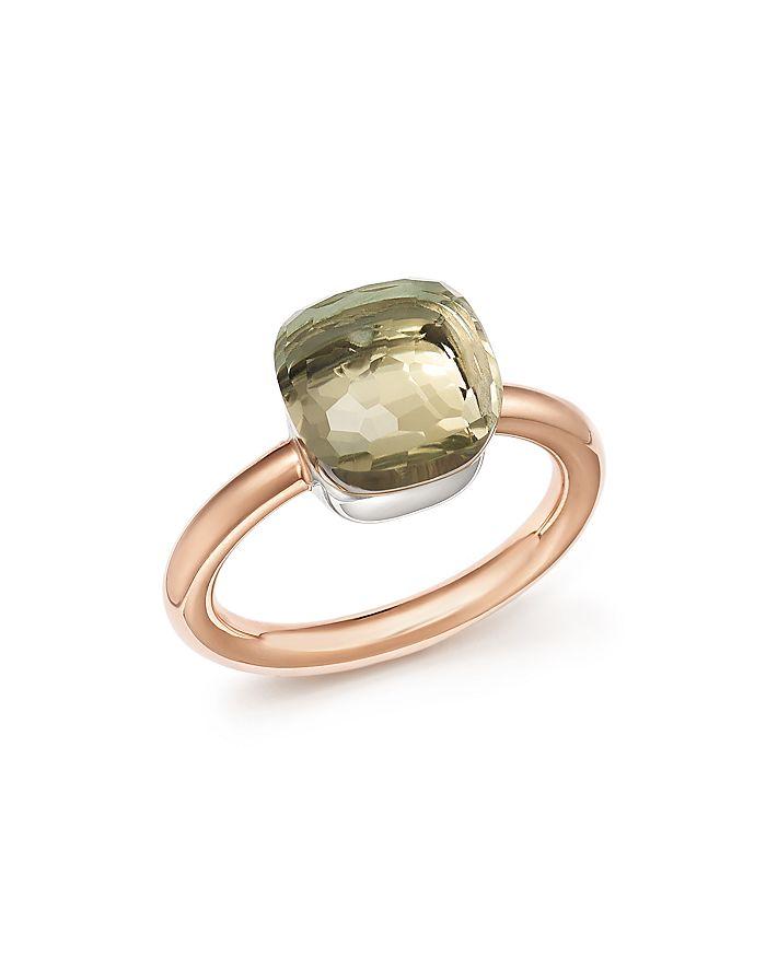 Pomellato Nudo Classic Ring With Prasiolite In 18k Rose And White Gold In Green/rose