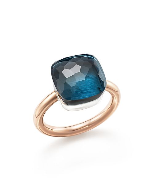 Pomellato - Nudo Maxi Ring with London Blue Topaz in 18K Rose and White Gold