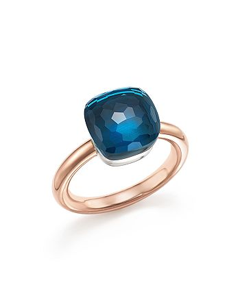 Pomellato - Nudo Classic Ring with London Blue Topaz in 18K Rose Gold and White Gold