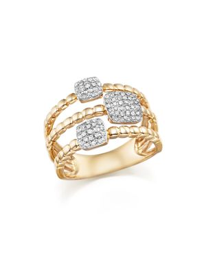 Diamond Pave Triple Row Beaded Band in 14K Yellow Gold, .25 ct. t.w.