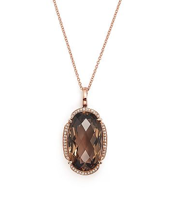 """Bloomingdale's - Smoky Quartz Oval and Diamond Pendant Necklace in 14K Rose Gold, 18""""- 100% Exclusive"""