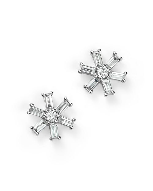 KC Designs - 14K White Gold Diamond Round and Baguette Stud Earrings