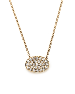 Diamond Pave Oval Pendant Necklace in 14K Yellow Gold, .45 ct. t.w. - 100% Exclusive