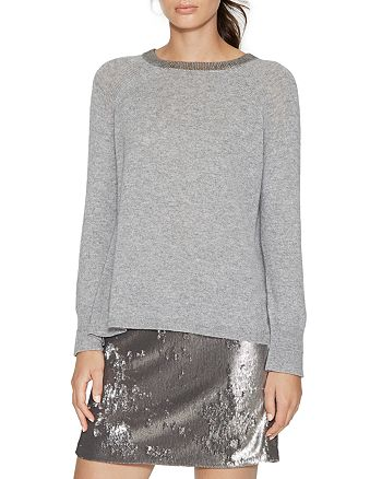 HALSTON HERITAGE - Metallic-Trim Sweater