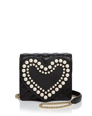 Boutique Moschino - Heart Faux-Pearl Leather Shoulder Bag