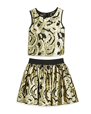 Pippa & Julie Girls' Metallic Brocade Top & Skirt Set - Sizes 7-14