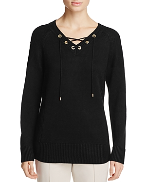 Calvin Klein Lace-Up V-Neck Tunic Sweater