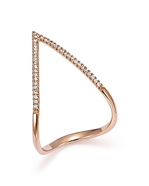Diamond Micro Pave Geometric Ring in 14K Rose Gold, .15 ct. t.w. - 100% Exclusive