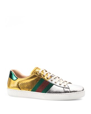 Ace Metallic Snakeskin Lace Up Sneakers