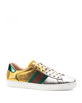Gucci - New Ace Metallic Snakeskin Lace Up Sneakers
