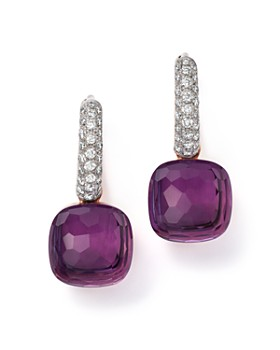 Pomellato - Nudo Earrings with Amethyst and Diamonds in 18K White and Rose Gold