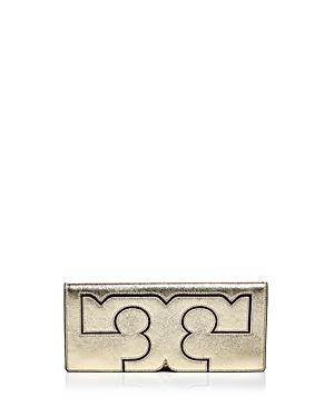 Tory Burch Serif Leather Metallic Clutch