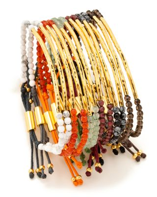 Gold-Tone Stone Beaded Bracelet