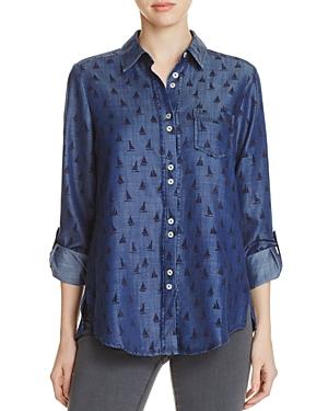 Foxcroft Zoey Sailboat Print Chambray Shirt