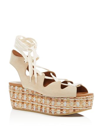 See by Chloé - Women's Raffia Open Toe Lace Up Platform Sandals