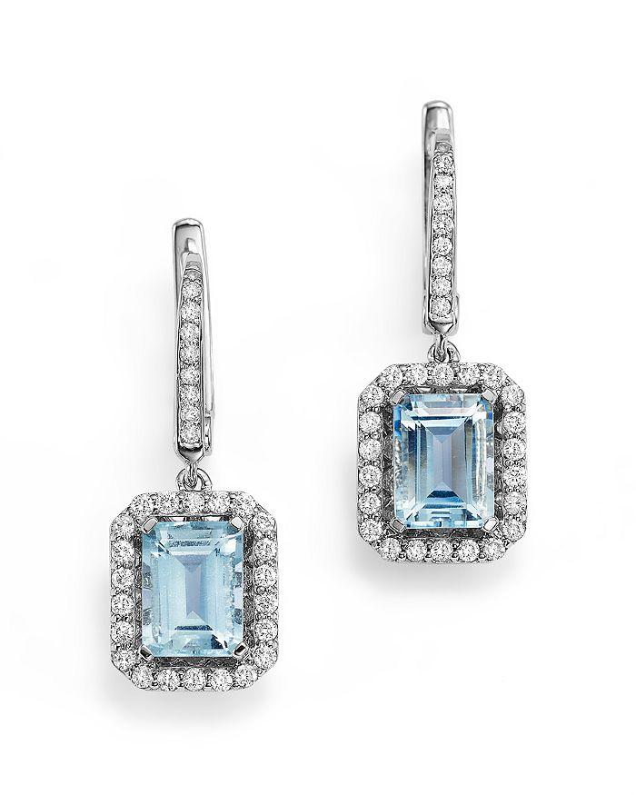 Bloomingdale's - Aquamarine and Diamond Drop Earrings in 14K White Gold- 100% Exclusive