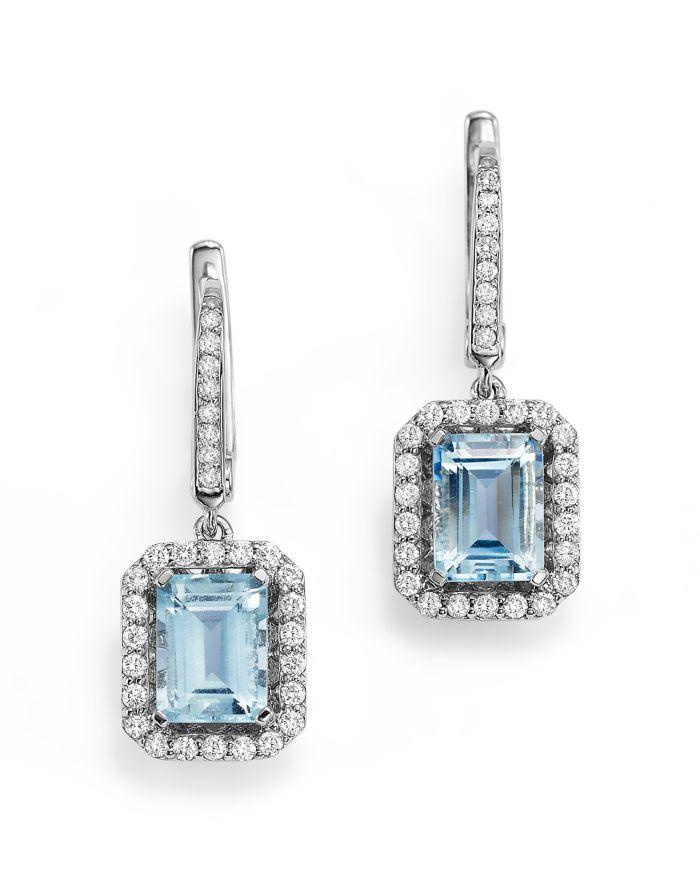 Bloomingdale's Aquamarine and Diamond Drop Earrings in 14K White Gold - 100% Exclusive  | Bloomingdale's