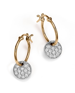 Diamond Micro Pave Disc Drop Earrings in 14K White and Yellow Gold, .25 ct. t.w.