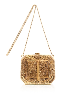 From St Xavier Lace Pattern Metal Clutch