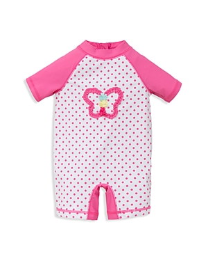 Little Me Infant Girls' Dot Print Butterfly Rash Guard Swim Romper - Sizes 6-24 Months