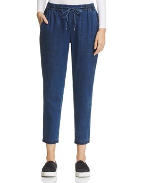 Eileen Fisher Petites Drawstring Denim Ankle Pants