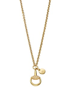 "Gucci 18K Yellow Gold Horsebit Necklace with Brown Diamonds, 17.7"" - Bloomingdale's_0"