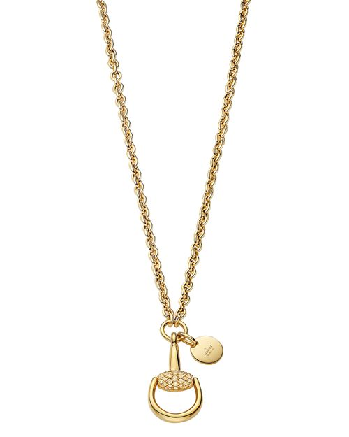 Gucci - 18K Yellow Gold Horsebit Necklace with Brown Diamonds, 17.7""