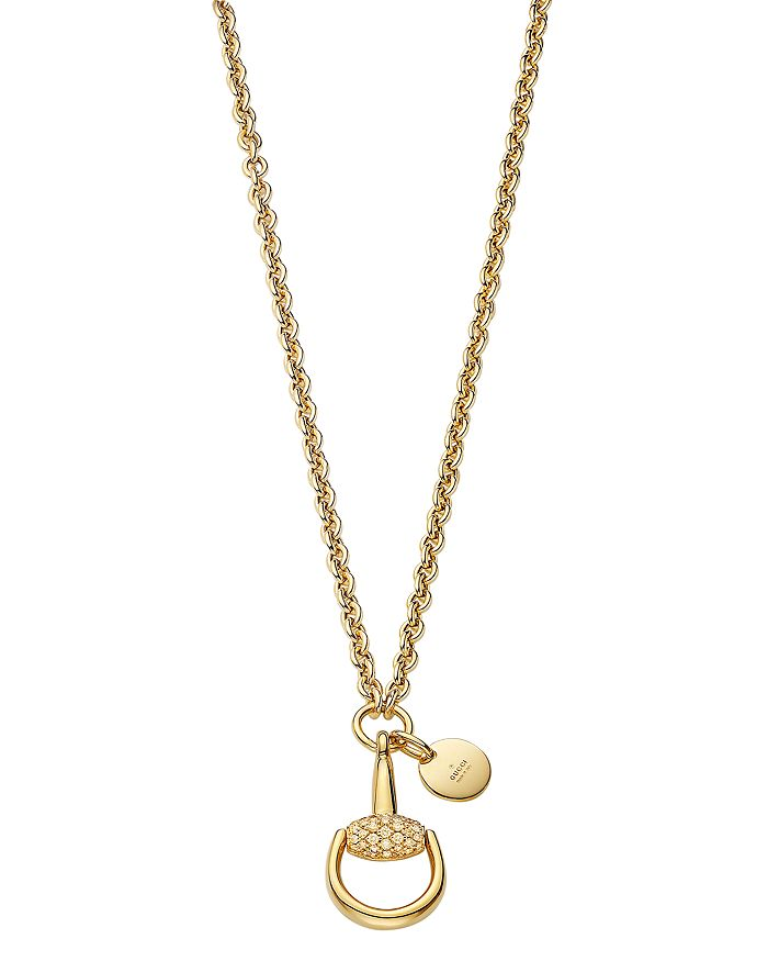 16ec1addb Gucci 18K Yellow Gold Horsebit Necklace with Brown Diamonds, 17.7 ...