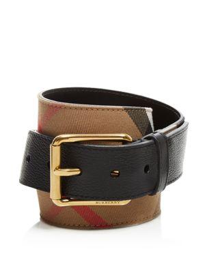 Burberry Mark House Check Belt, Camel/Black