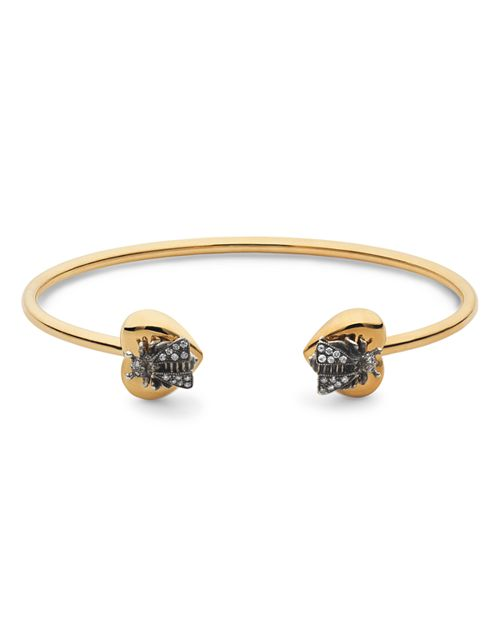 Gucci - Sterling Silver and 18K Yellow Gold Le Marché Des Merveilles Cuff with Grey Diamonds