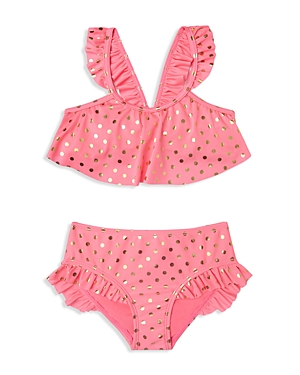 Hula Star Girls' Metallic Dot Two Piece Swimsuit - Little Kid