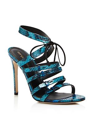 Sergio Rossi Zoe Snakeskin Strappy High Heel Sandals
