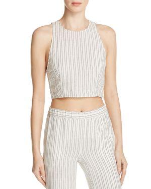 Theory Nikayla Striped Linen Crop Top