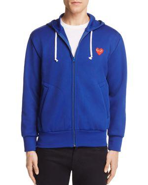 Comme Des Garcons Play Zip-Front Heart Logo Hoodie Sweatshirt