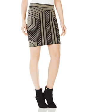 Bcbgmaxazria Josa Metallic Graphic Mini Skirt at Bloomingdale's