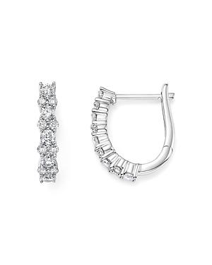 Diamond Huggie Hoop Earrings in 14K White Gold, .75 ct. t.w. - 100% Exclusive
