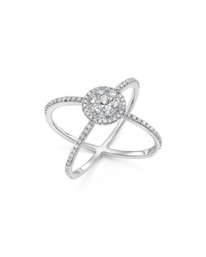 Diamond Cluster Crossover Ring in 14K White Gold, .55 ct. t.w. - 100% Exclusive