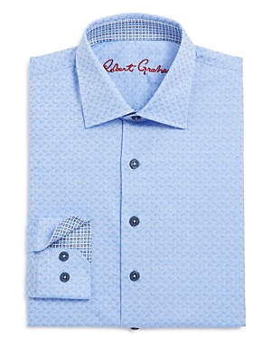 Robert Graham Boys' Tonal Geo Print Dress Shirt - Big Kid