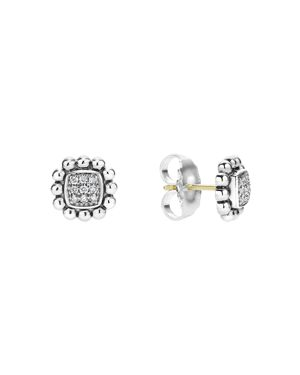 Lagos Sterling Silver Caviar Spark Diamond Square Stud Earrings