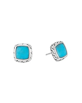 John Hardy - John Hardy Sterling Silver Classic Chain Stud Earrings with Turquoise