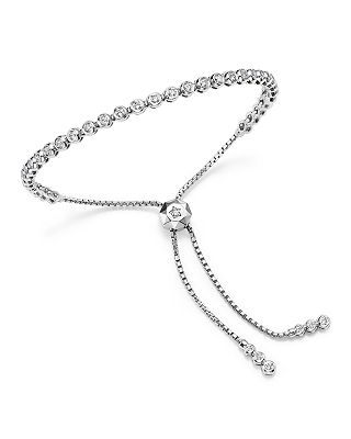 Bloomingdale S Diamond Bezel Tennis Bolo Bracelet In 14k White Gold