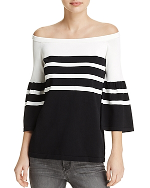 Calvin Klein Off-the-Shoulder Bell Sleeve Stripe Sweater