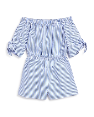 Aqua Girls' Striped Off the Shoulder Romper, Big Kid - 100% Exclusive