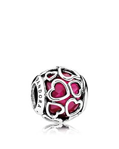 PANDORA Moments Collection Sterling Silver & Enamel Heart Encased Cerise Charm - Bloomingdale's_0