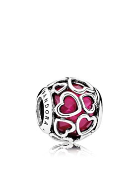 Pandora -  Moments Collection Sterling Silver & Enamel Heart Encased Cerise Charm