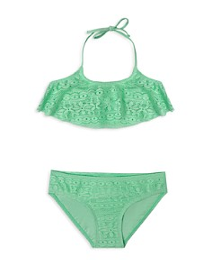 Gossip Girl - Girls' Crochet Flounce 2-Piece Swimsuit - Big Kid