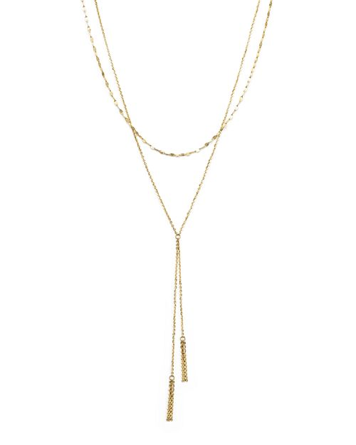 """Bloomingdale's - 14K Yellow Gold Double Chain Tassel Lariat Necklace, 17"""" - 100% Exclusive"""