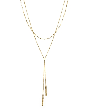 14K Yellow Gold Double Chain Tassel Lariat Necklace, 17 - 100% Exclusive
