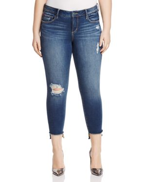 Slink Jeans Dorthey Frayed Step-Hem Cropped Jeans in Dark Blue thumbnail
